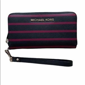 Michael Kors Purple Striped Wristlet
